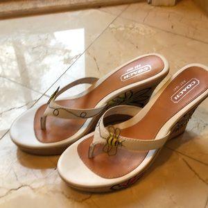 Coach White Bee heels